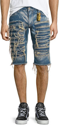Robin's Jeans Distressed Slim-Fit Shorts, Light Blue $375 thestylecure.com