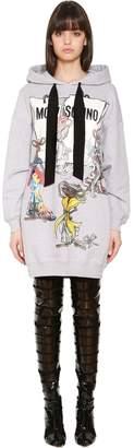 Moschino Hooded Printed Cotton Sweatshirt Dress