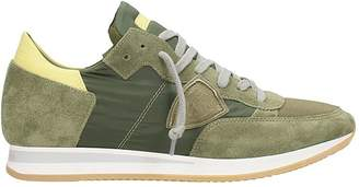 Philippe Model Tropez Green Suede And Fabric Sneakers