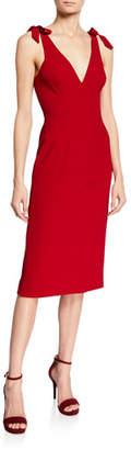 Dress the Population Lita V-Neck Sleeveless Bow-Shoulder Sheath Dress