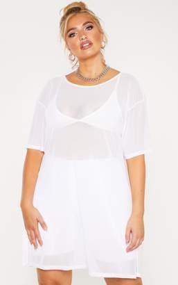 9a250f8e4cf2 PrettyLittleThing Plus White Sheer Mesh Oversized T Shirt Dress