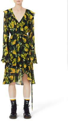 Marc Jacobs Bell-Sleeve Pear-Print Wrap Dress