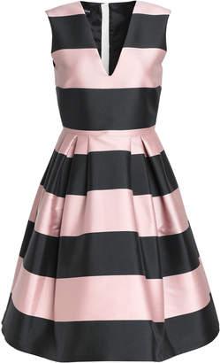 Rochas Pleated Striped Duchesse Satin Dress