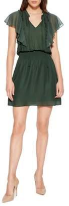Parker Remington Flutter Sleeve Silk Blend Minidress