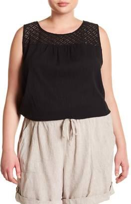 Joe Fresh Crochet Lace Yoke Sleeveless Blouse (Plus Size)