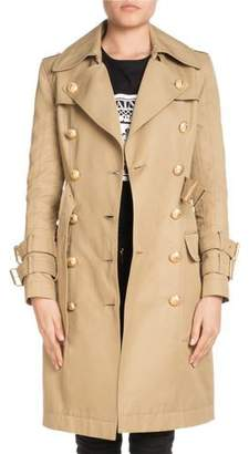 Balmain Double-Breasted Knee-Length Gabardine Trench Coat