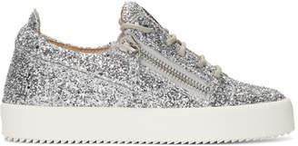 Giuseppe Zanotti Silver Glitter Gail Sneakers