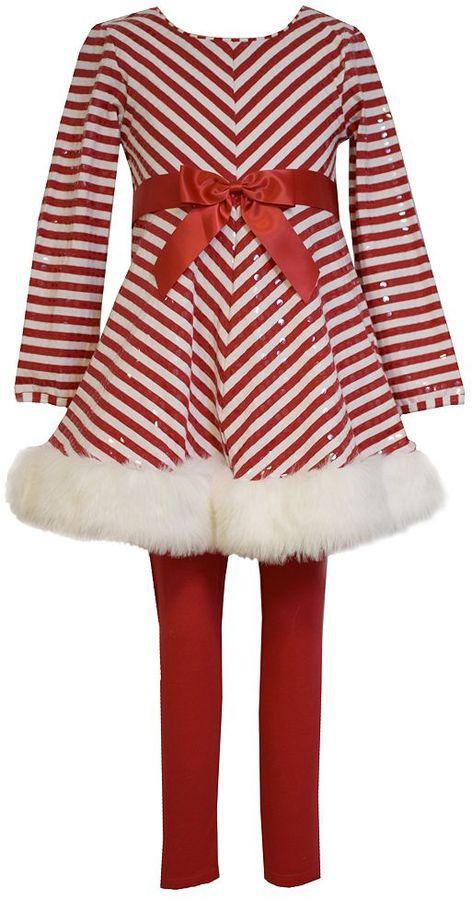 Bonnie JeanGirls 7-16 Bonnie Jean Striped Dress & Leggings Set