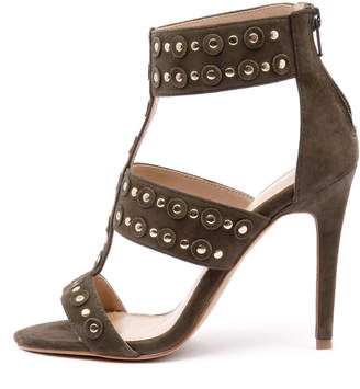 Wanted New Salento Khaki Gold Stud Womens Shoes Dress Sandals Heeled
