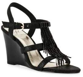 Adrianna Papell Adair Beaded Fringe Wedge Sandals