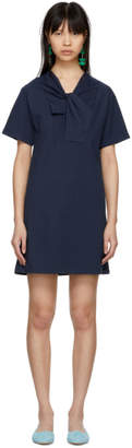 Carven Navy Twist Detail T-Shirt Dress