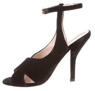 Fendi Velvet Ankle Strap Sandals Black Velvet Ankle Strap Sandals