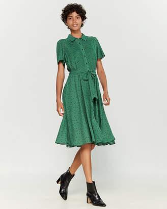 Nanette Lepore Nanette Flutter Sleeve Chiffon Floral Print Shirtdress