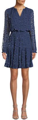 Shoshanna Levon Long-Sleeve Burnout Velvet Dress