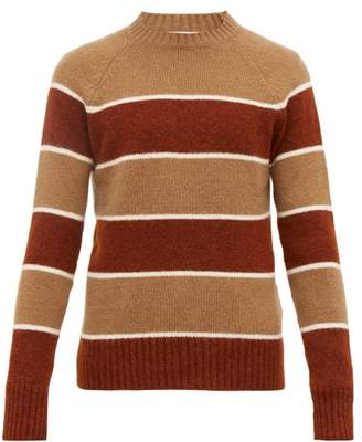 Ami Striped Knitted Sweater - Mens - Beige