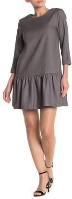 FRNCH Windowpane Flounce Shift Dress