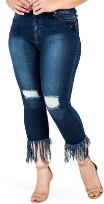 22bd18e6933 Standards   Practices Laura Fringe Hem Skinny Crop Jeans