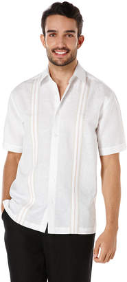 Cubavera Linen Cotton Short Sleeve Tricolor Insert Panel