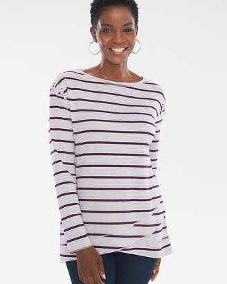 Of the Moment Zenergy Striped Lace-Up Shoulder Tunic