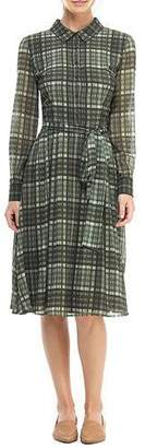 Gal Meets Glam Plaid Chiffon Long-Sleeve Shirtdress