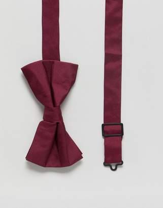 Asos DESIGN Silk Bow Tie In Burgundy