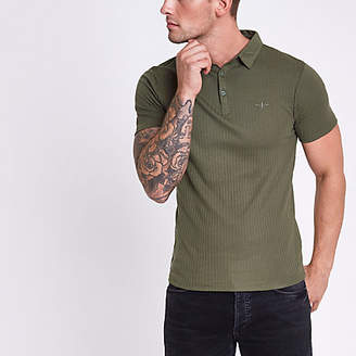 River Island Mens Dark Green ribbed muscle fit polo shirt