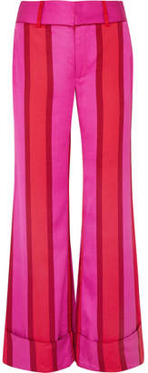 Maggie Marilyn Endless Optimist Striped Silk-satin Flared Pants