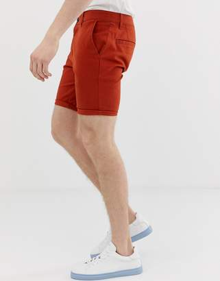 Asos Design DESIGN skinny chino shorts in rust