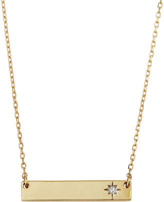 Adina Super Tiny Diamond Rectangle Stamp Necklace