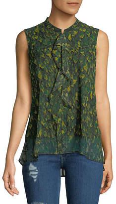 Donna Karan Feather Camo-Print Silk Top