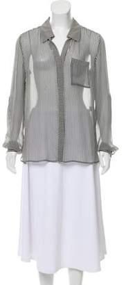 Diane von Furstenberg Striped Button-Up Top Black Striped Button-Up Top
