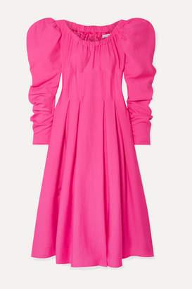 REJINA PYO Carla Pleated Crepe Midi Dress - Fuchsia