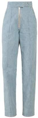 Isabel Marant Nuk High Rise Straight Leg Trousers - Womens - Light Blue