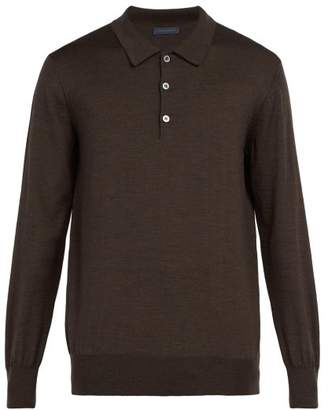 Thom Sweeney - Merino Wool Long Sleeved Polo Shirt - Mens - Brown
