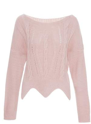 Quiz Pink Light Knit Cable Crop Jumper