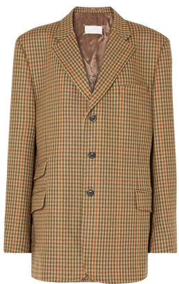 Maison Margiela Oversized Checked Wool Blazer - Brown