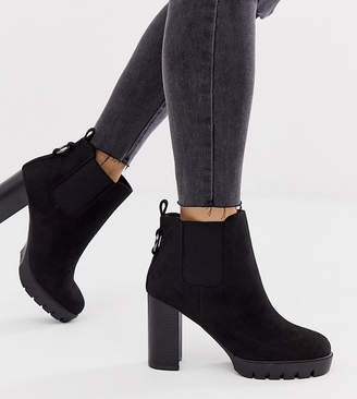New Look Wide Fit lace up chunky platform heeled boots in black