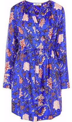 Diane von Furstenberg Floral-Print Silk-Twill Mini Shirt Dress
