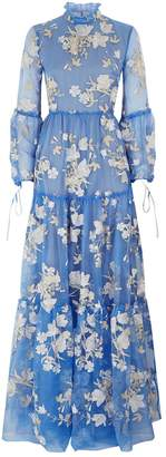 Cassandra Tulip Embroidered Gown, Blue, UK 10