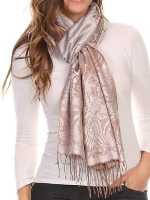 Sakkas 16115 - Kendall Long Extra Wide Floral Paisley Patterned Pashmina Shawl/Scarf - Brown/Grey - OS