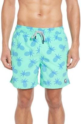Men's Tom & Teddy Pineapple Print Swim Trunks $94.95 thestylecure.com