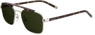 Calvin Klein Acetate/Metal Aviator Sunglasses