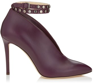 Jimmy Choo LARK 100 Grape Shiny Calf Leather Booties