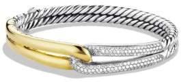 David Yurman Labyrinth Single-Loop Bracelet with Diamonds and Gold