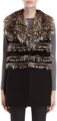 Equipment Love Token Real Fur Collar Knit Vest