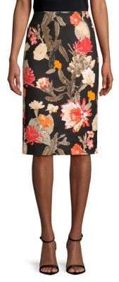 Lord & Taylor Floral Stretch-Cotton Midi Pencil Skirt