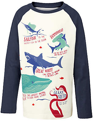 Fat Face Boys' Sea Creature T-Shirt, White