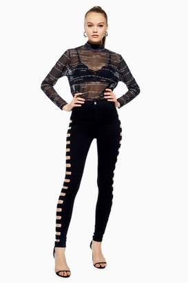 Topshop Black Cut Out Joni Jeans