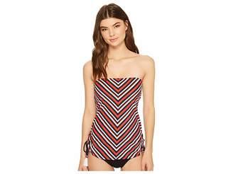 Tommy Hilfiger True Tommy Stripe Side Cinched Bandeau Tankini Top Women's Swimwear