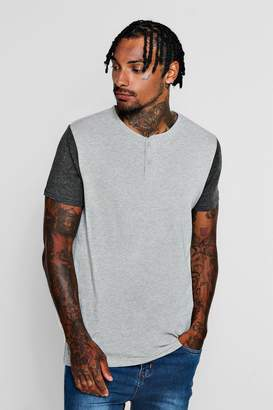 Baseball Neck T-Shirt With Contrast Sleeve